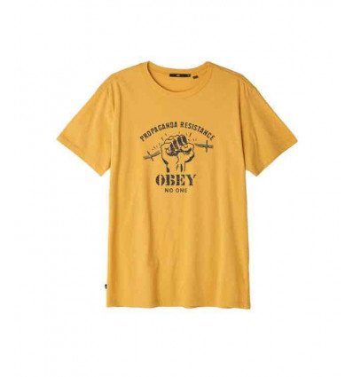 OBEY RESIST FIST SUPERIOR BAKED YELLOW T-SHIRT A MANICA CORTA DA UOMO