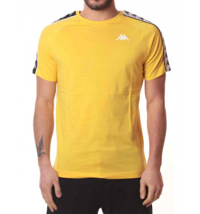 KAPPA 222 BANDA COENLY SLIM YELLOW-BLACK-WHITE T-SHIRT A MANICA CORTA DA UOMO