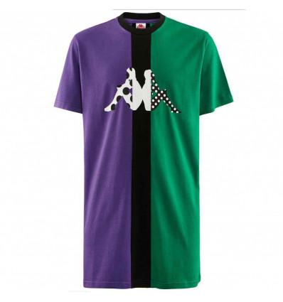 KAPPA AUTHENTIC BALIQ violet-green-black T-shirt manica corta UNISEX tri color