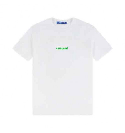 USUAL_USUAL USUAL WHITE GREEN T-SHIRT MANICA CORTA UOMO