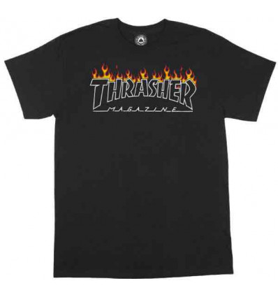 THRASHER Scorched outline tee black tshirt nera unisex