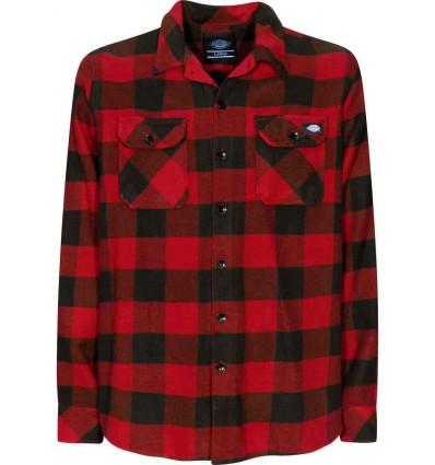 rivenditore di vendita d18ee 8f70e Dickies sacramento l\s shirt red camicia scacchi in flanella ...