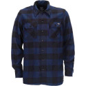 Dickies sacramento l\s shirt blue camicia scacchi in flanella