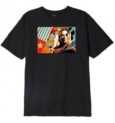 OBEY welcome visitor basic tee black t-shirt uomo a manica corta