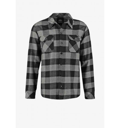 Dickies sacramento l\s shirt grey melange camicia scacchi in flanella