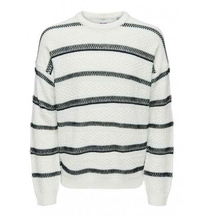 ONLY E SONS Cloud sweater white maglione uomo