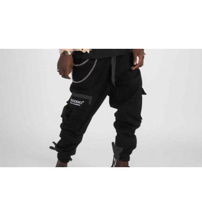 BASEDODICI cargo pant pantalone con tasche laterali nero