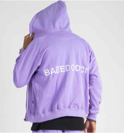BASEDODICI hoodie zip lilla felpa con zip purple