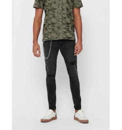 ONLY E SONS warp skinny jeans nero con catena da uomo
