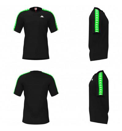 KAPPA 222 BANDA COENLY SLIM black-neon green t-shirt slim fit