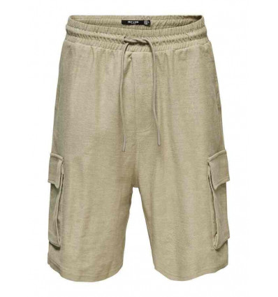 ONLY E SONS BOAZ SWEAT SHORT pantalone cargo in felpa beige