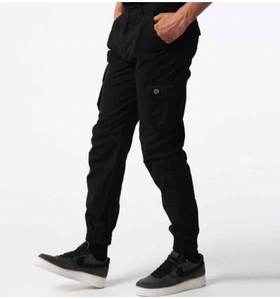 DOLLY NOIRE black long cargo pantalone tasconato
