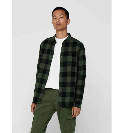 ONLY E SONS gudmund forest nght ls checked shirt noos camicia a manica lunga da