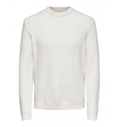 ONLY E SONS 5 soft crew neck knit cloud dancer maglioncino uomo
