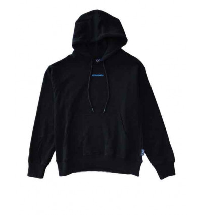 PROPAGANDA hoodie ribs icon black felpa nera garzata con cappuccio