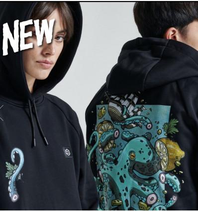 DOLLY NOIRE polpo hoodie felpa con cappuccio black